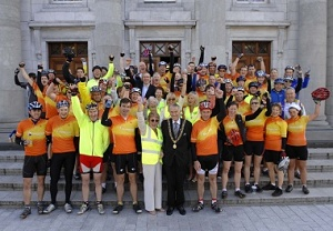 "Seán Kelly and Cork's Lord Mayor with 56 ""leisure"" cyclists and CFAI collectors at the Tour start"
